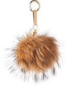 NC Fashion Raccoon Pom Pom with Leather Strap, 13 cm. A/W 18-19 Keyhangers Natural Caramel