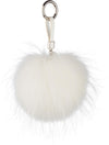 NC Fashion Raccoon Pom Pom with Leather Strap, 13 cm. A/W 18-19 Keyhangers White