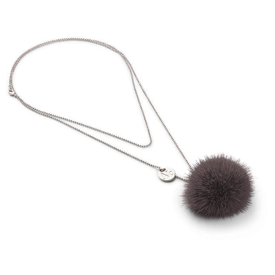 NC Fashion Necklace Pom Pom Mink, A/W 18-19 Necklace Dark Grey