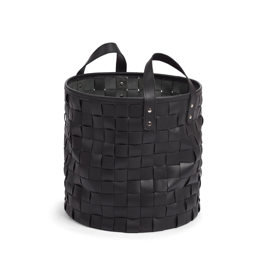NC Living Weaved Basket of Premium Quality Calf Leather, Size D38xH38 CM | Small Basket