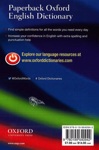 Paperback Oxford English Dictionary 9780199640942 - back cover