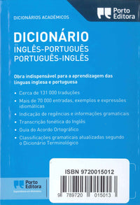 School English-Portuguese & Portuguese-English Dictionary 9789720015013 - back cover