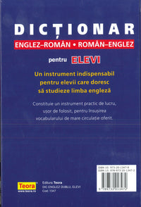 Teora Students English-Romanian & Romanian-English Dictionary 9789732013472 - back cover