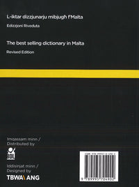 Kelmet Il-Malti: Maltese-English & English-Maltese Dictionary 9789995704902 - back cover