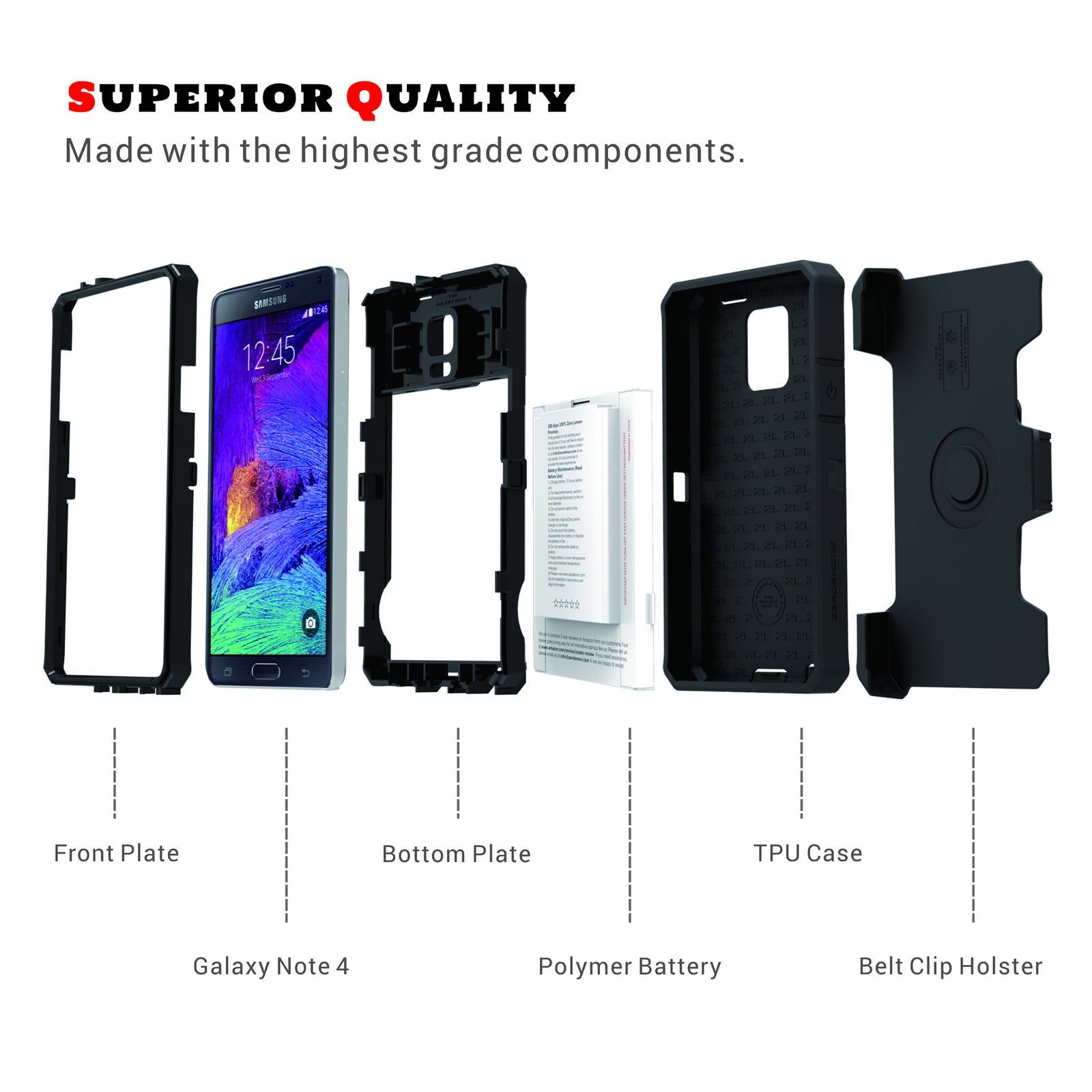 Galaxy Note 4 10000mAh Extended Battery + Rugged Case - Black