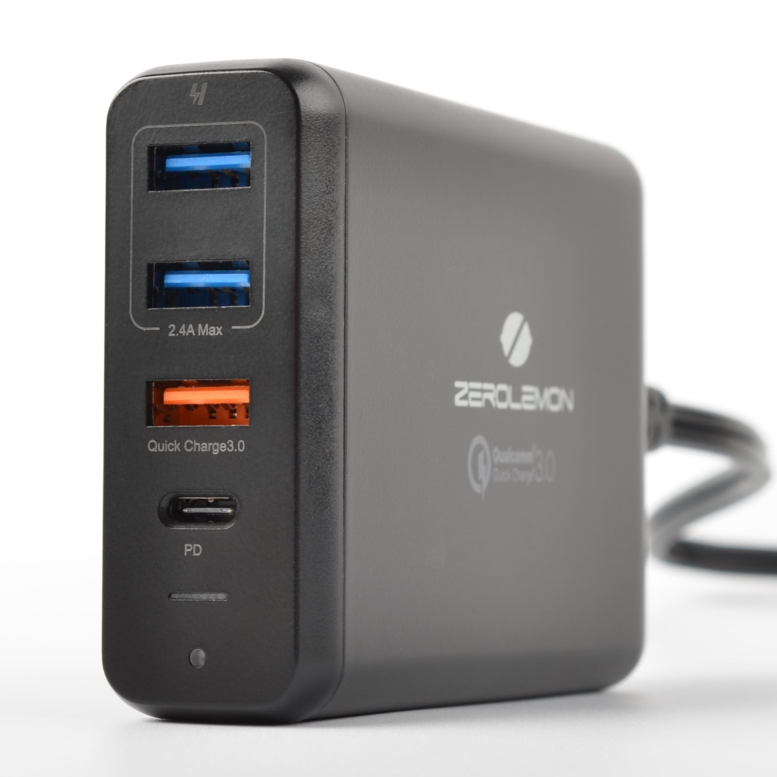 75W 4-Port PD Desktop Charger with 1 USB-C Port and QC 3.0