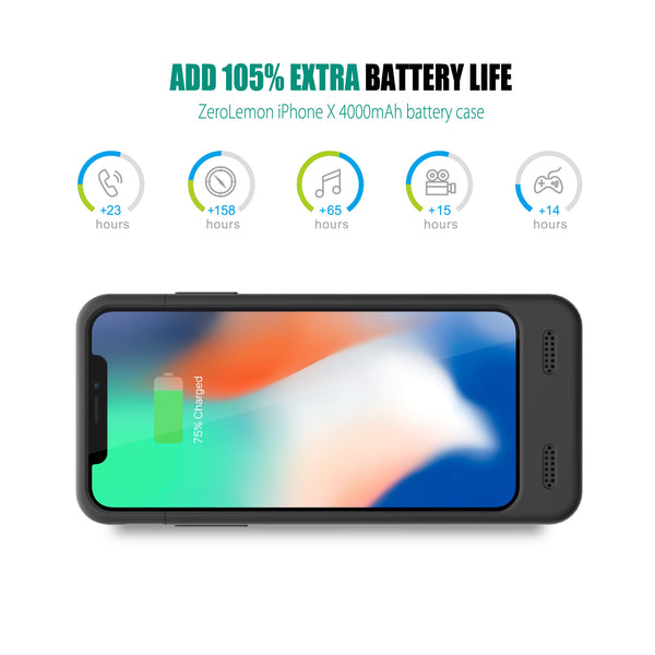 uk availability 2ee27 3317a iPhone X Battery Case 4000mAh