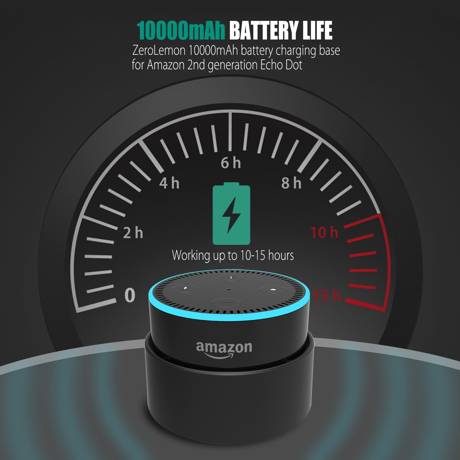 7500mAh Battery Charging Case for Echo Dot 2nd Generation Amazon [Shipping to US Only]