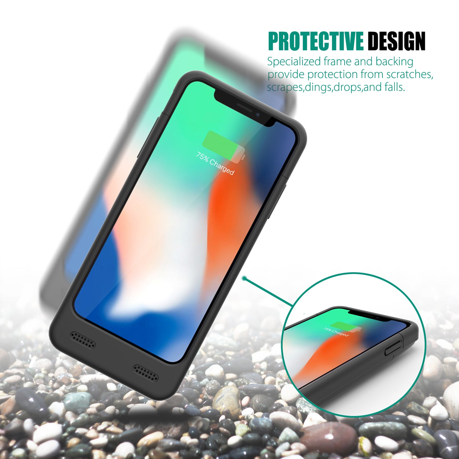 iPhone X 4000mAh Battery Case with Qi Wireless Charging Supported  [Shipping to US Only]