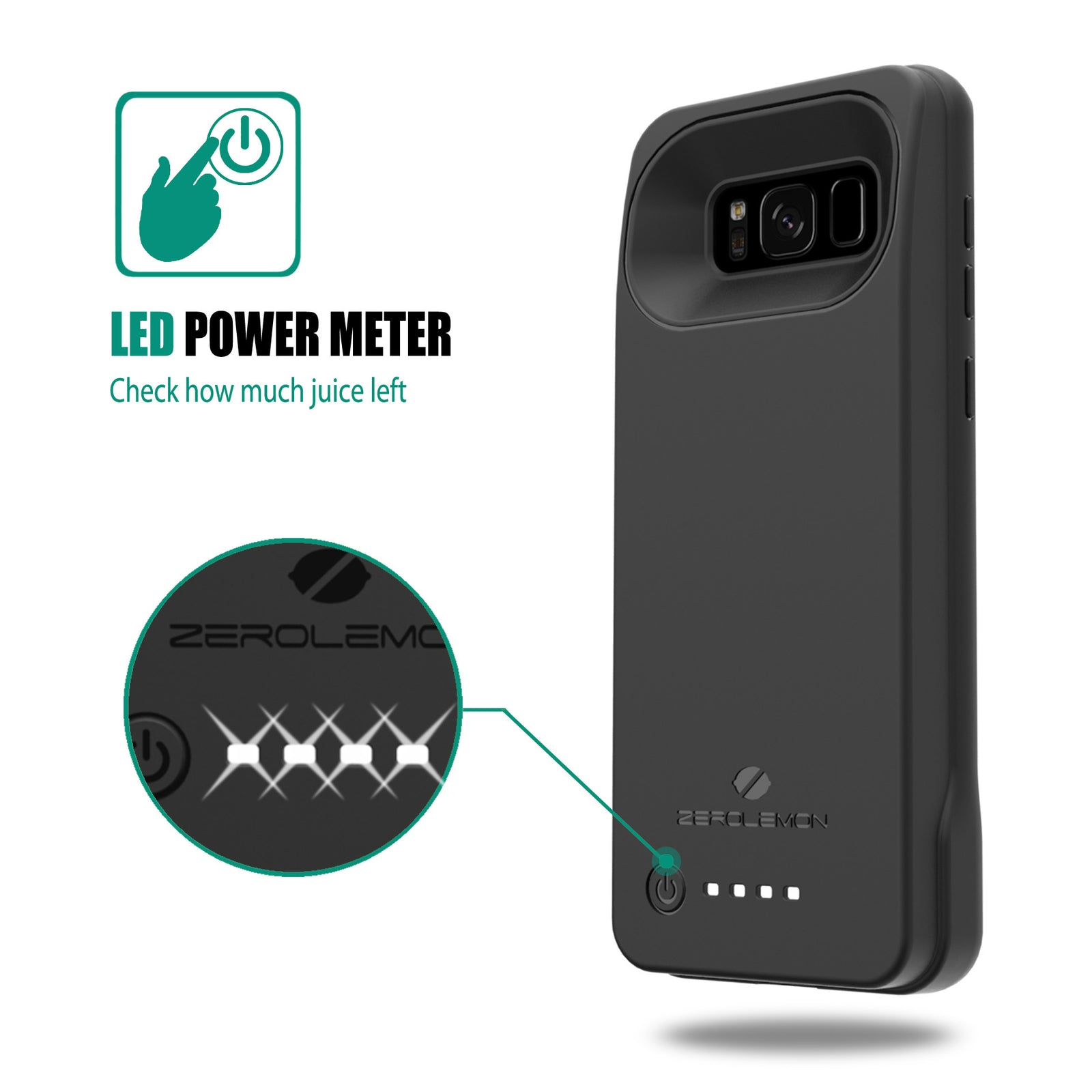 Galaxy S8 Plus Wireless Charging Out Battery Case 5500 mAh + FLIR One Support [Bulk Purchase Only]
