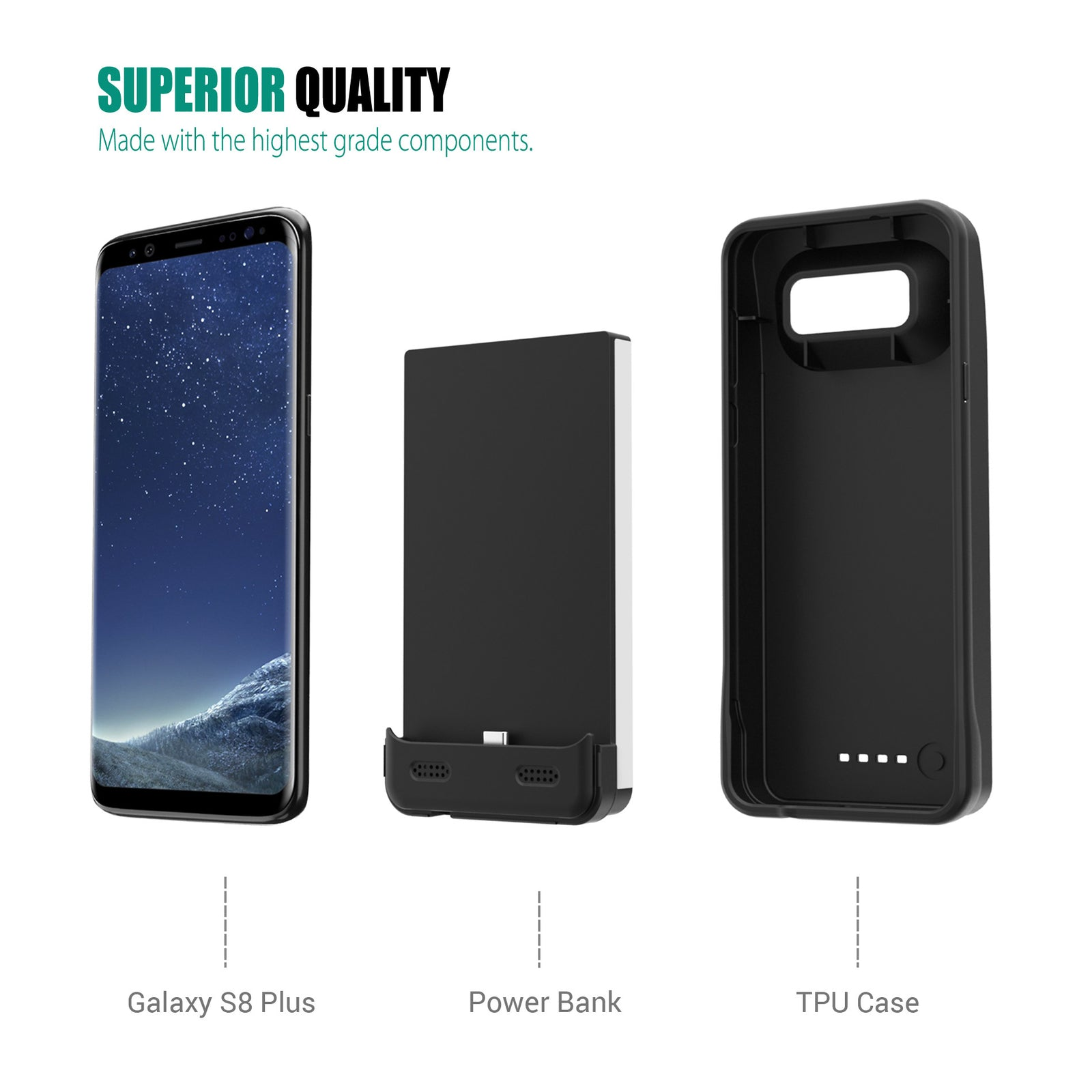 Galaxy S8 Plus Battery Case 6300mAh