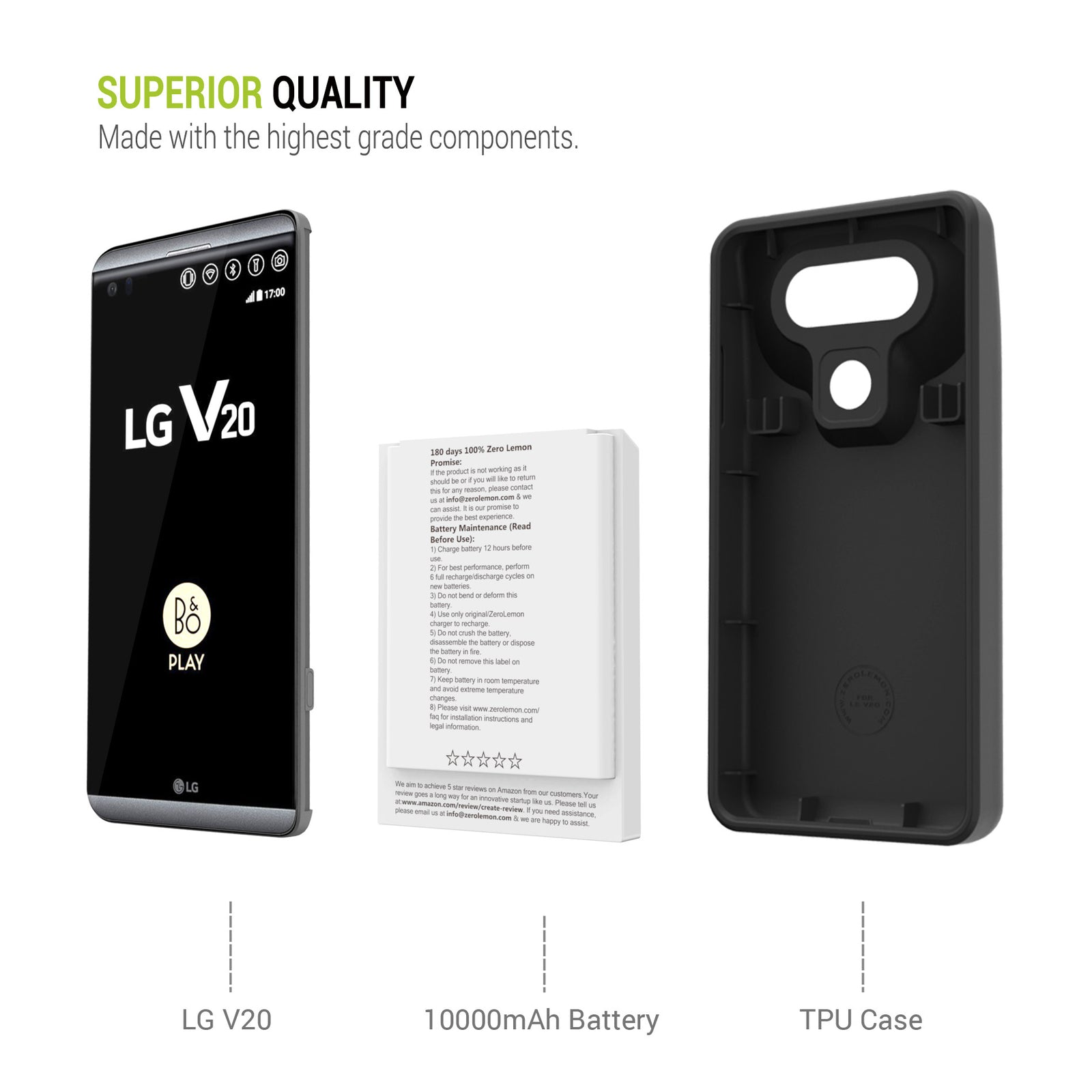 outlet store 2d123 29d73 LG V20 Battery Case 10000mAh– ZEROLEMON