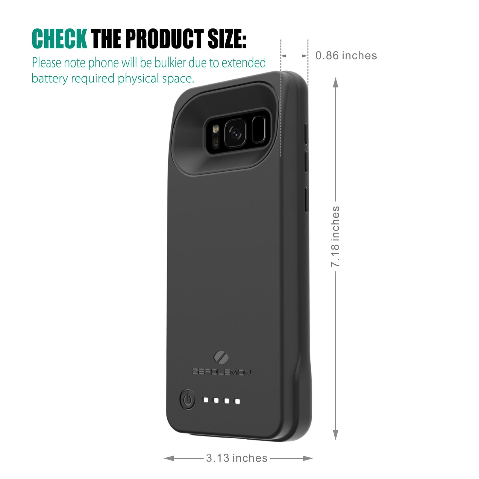 sale retailer 047b0 76b64 Galaxy S8 Plus Battery Case 6300mAh– ZEROLEMON