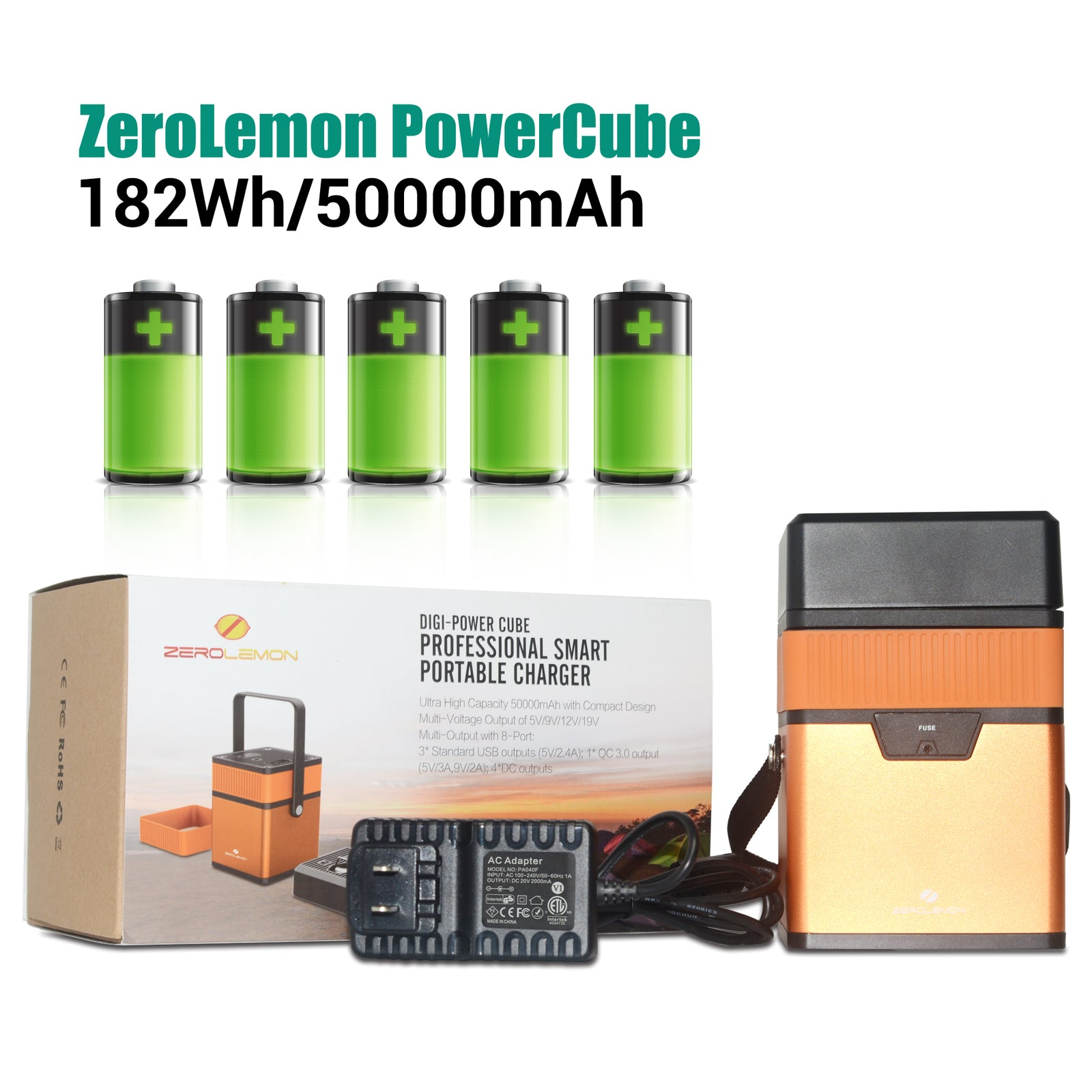 PowerCube 182Wh/50000mAh QC 3.0 Portable Power Station [Shipping to US Only]