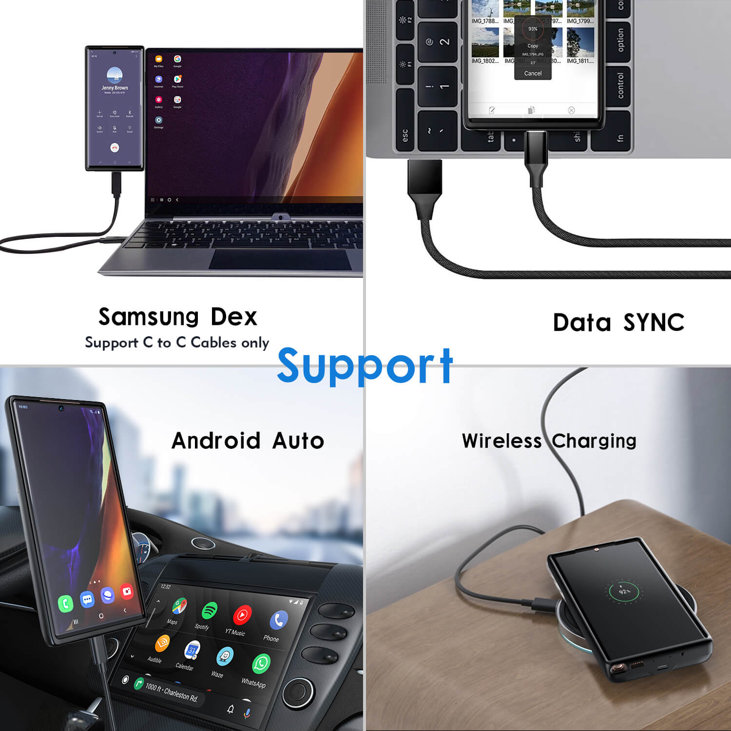 galaxy note 20 battery case, 5000mAh, fast charging, qi wireless charging, wired usb c headset, otg, android auto, samsung dex, data sync