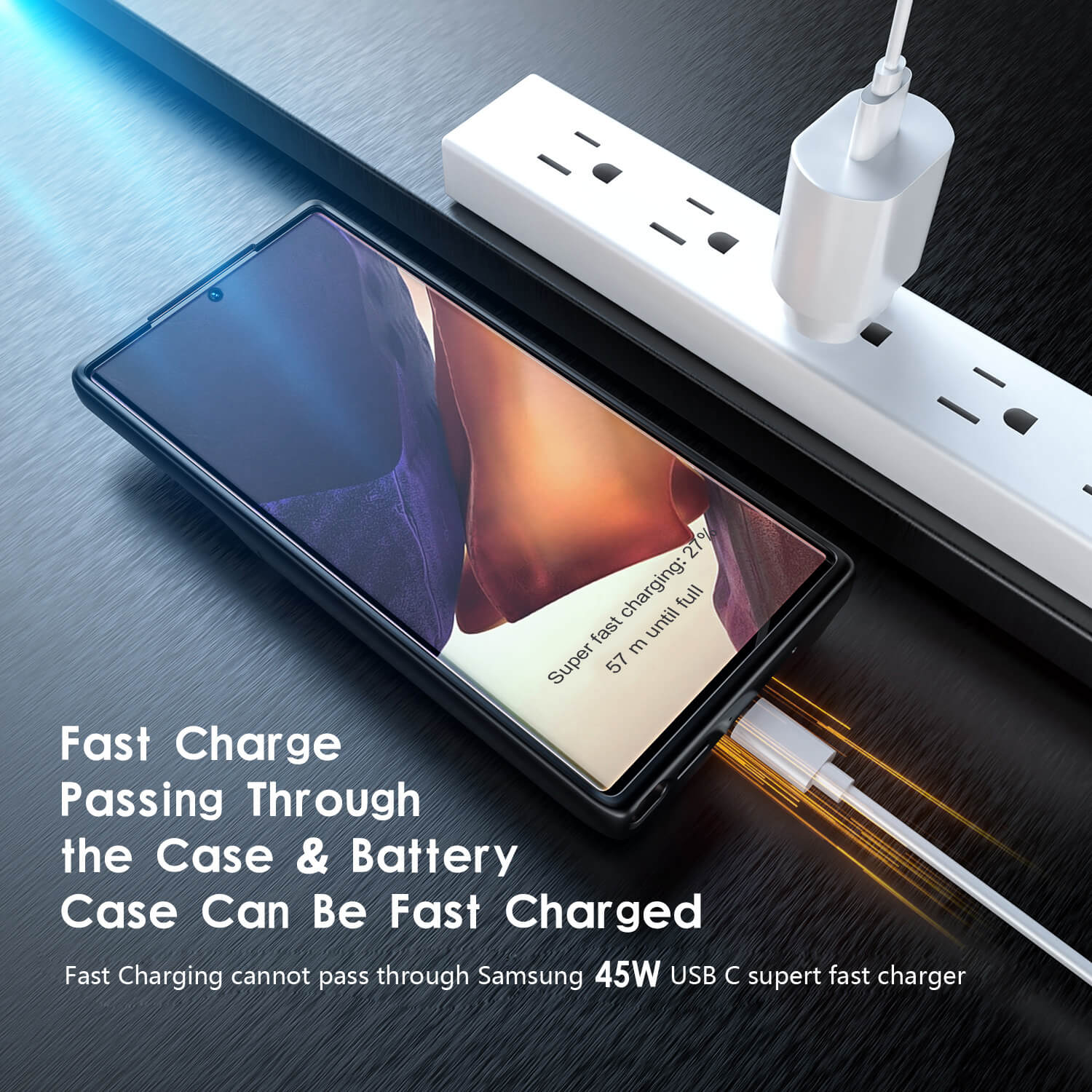 galaxy note 20 ultra battery case, 5000mAh, fast charging, qi wireless charging, wired usb c headset, otg, android auto, samsung dex, data sync