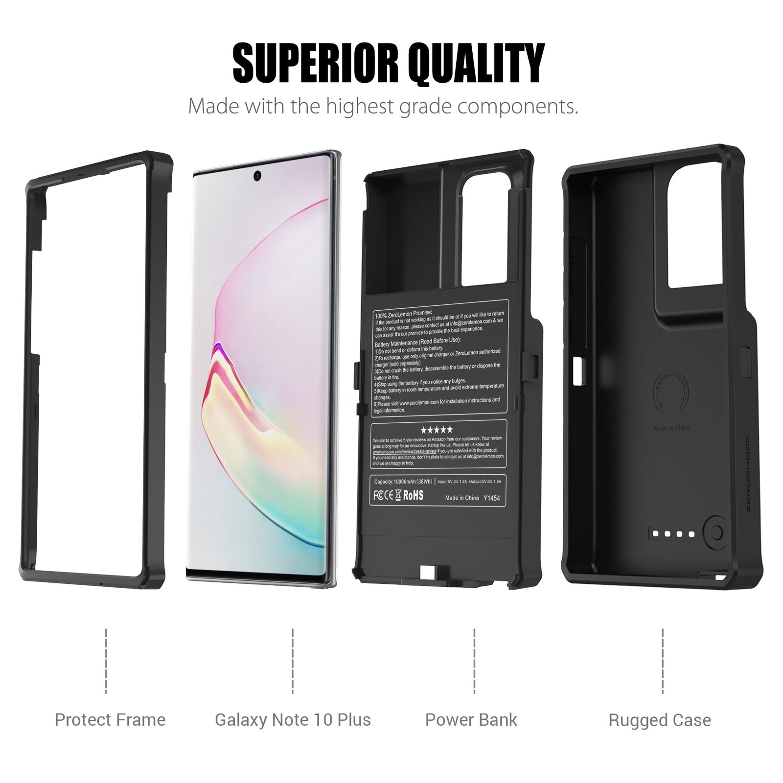 Galaxy Note 10 Plus Wireless Charging Battery Case 10000mAh