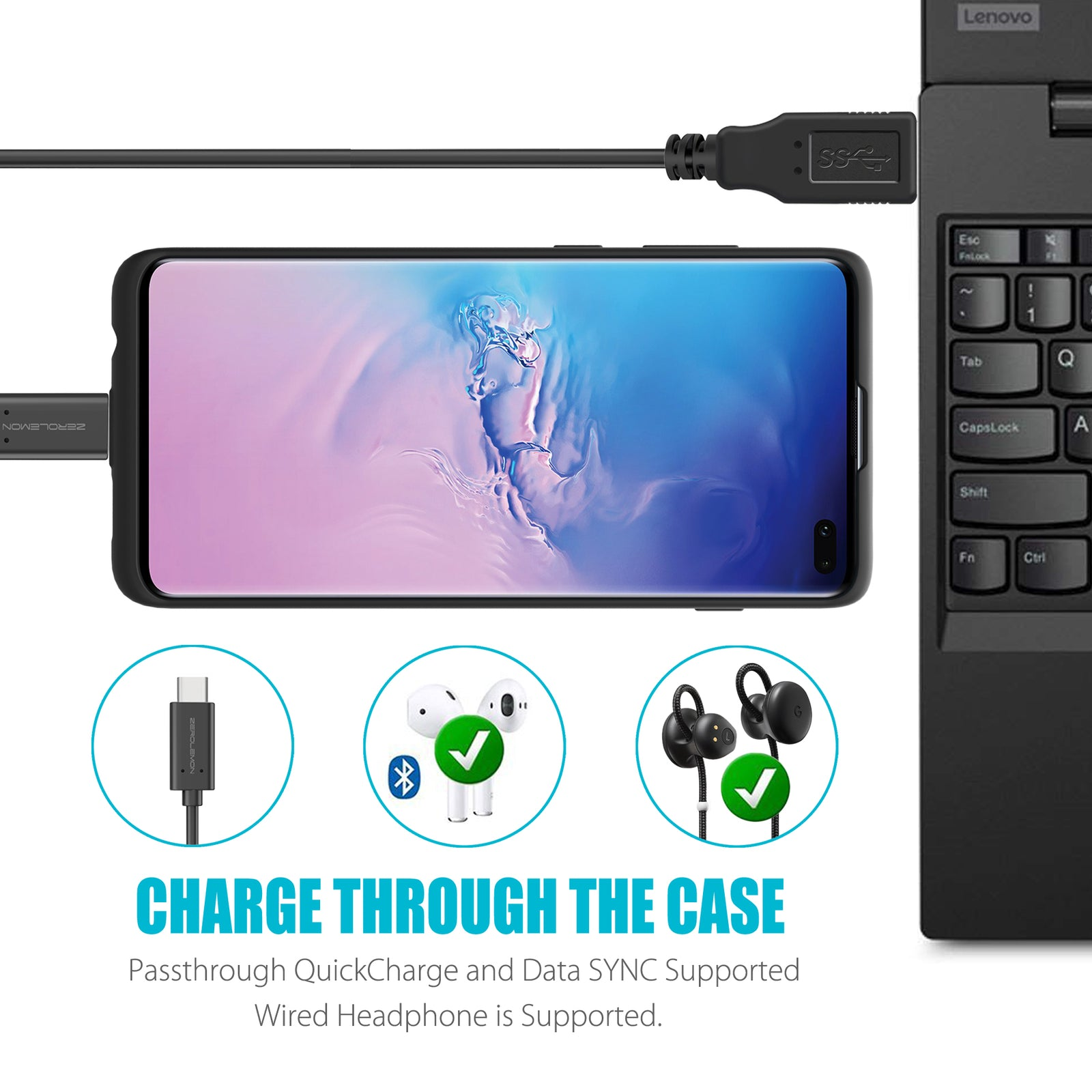 Galaxy S10 Plus Extended Battery Case 10000mAh