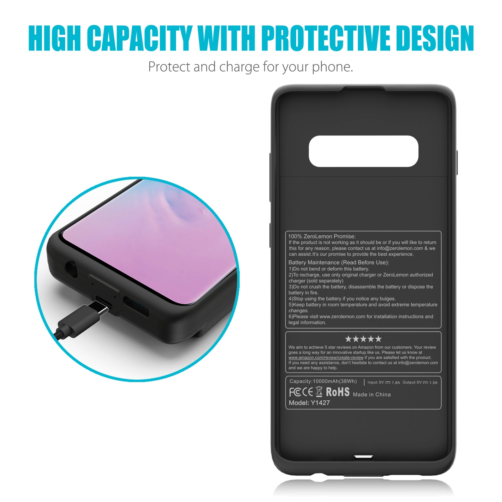 Galaxy S10 Plus 10000mAh Extended Battery Case