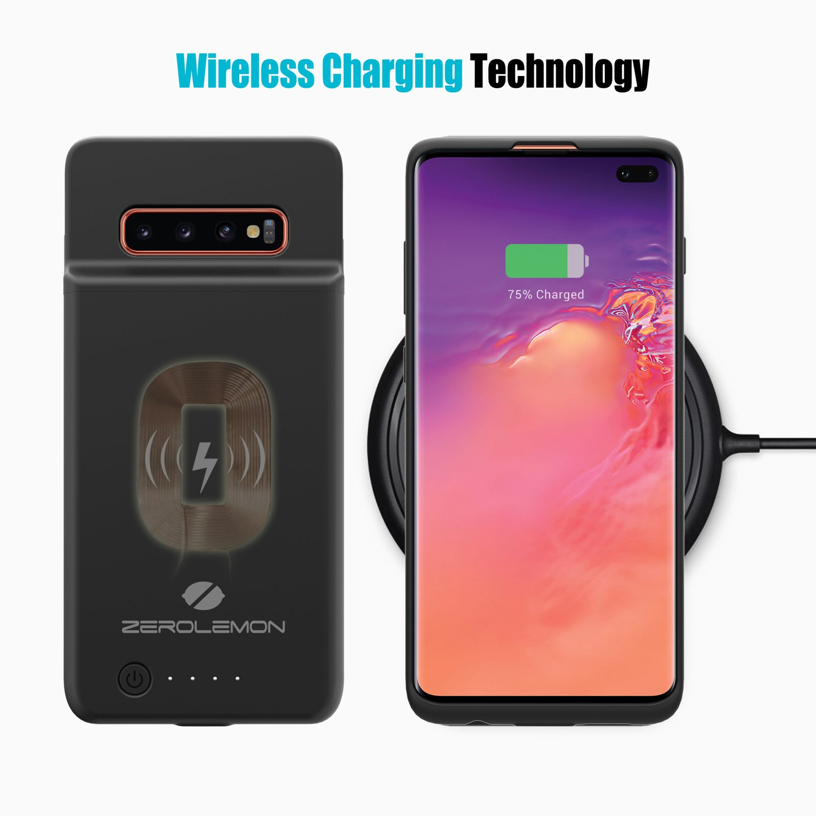 Galaxy S10 Plus 5000mAh Wireless Charging Battery Case