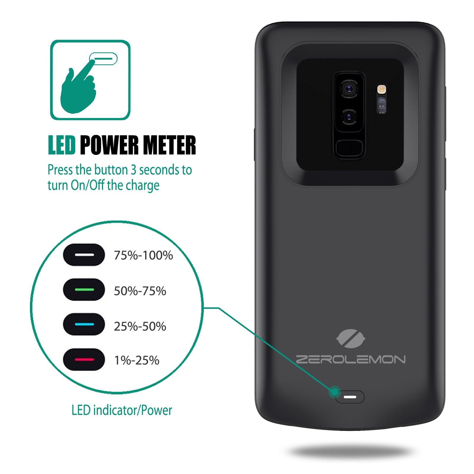 detailed look 54e48 97033 Samsung Galaxy S9 Plus Battery Case 5200mAh– ZEROLEMON