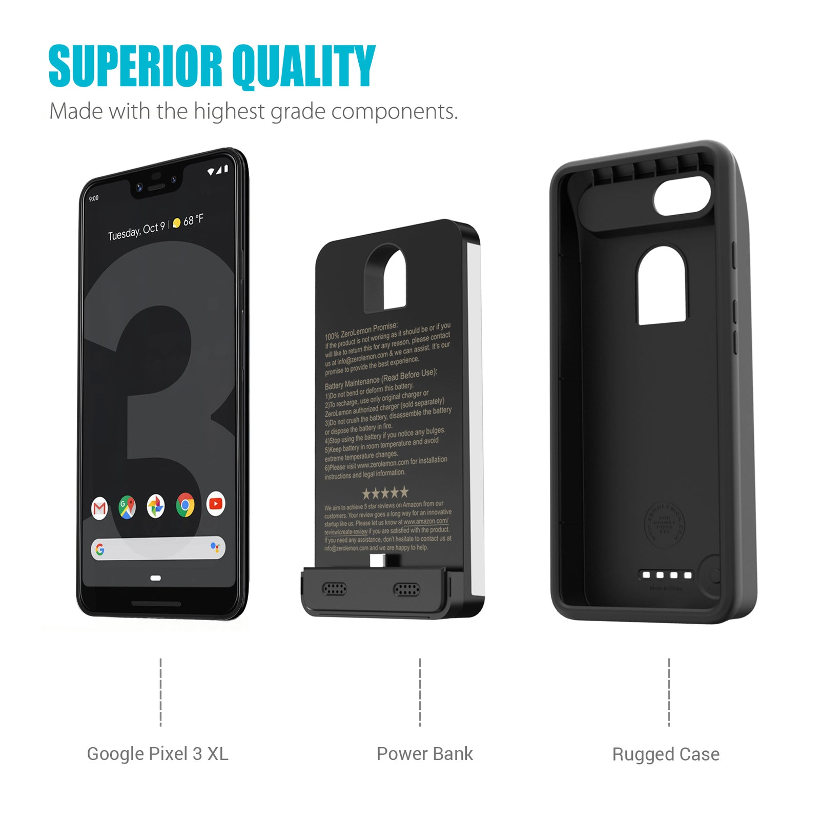 Google Pixel 3 XL 8500mAh Extended Battery Case
