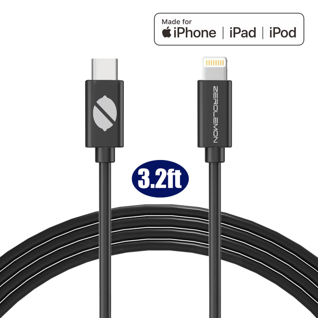 USB-C PD to Lightning Fast Charging Cable [Apple Mfi Certified] PVC Black - 1Pack