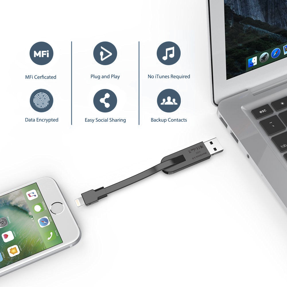64GB Lightning Flash Drive for iPhone/iPad/iPod/PCs/Mac Computers - [Shipping to US Only]
