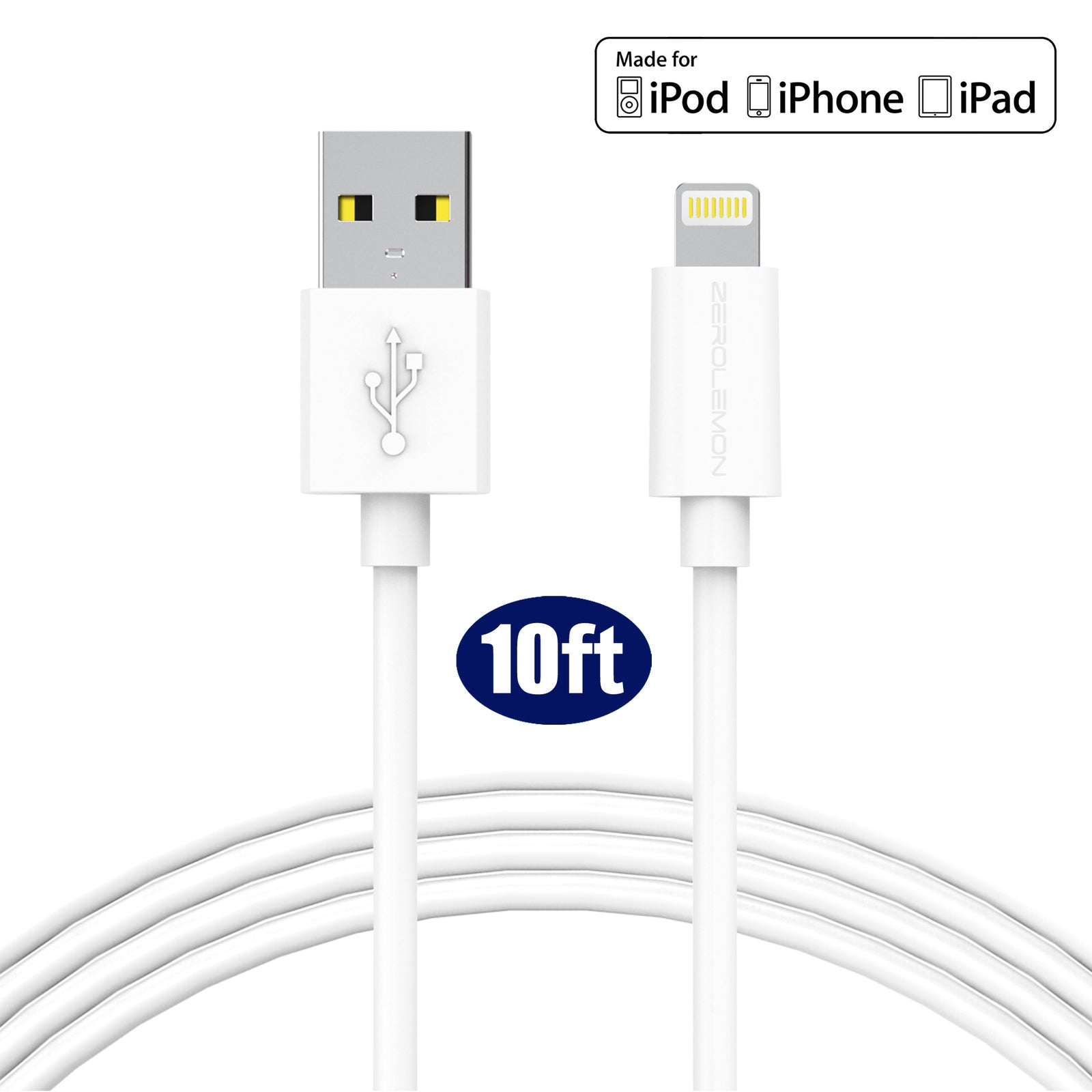 Iphone Usb Cable Replacement: iPhone Charging Cable 10ft/3m [10-Pack] - PVC Whiterh:zerolemon.com,Design