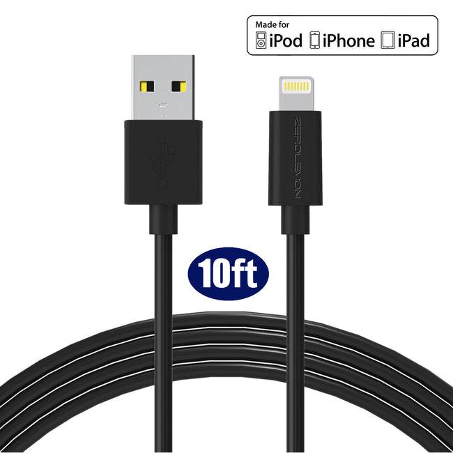 Lightning Cable 10ft/3m - PVC Black/White
