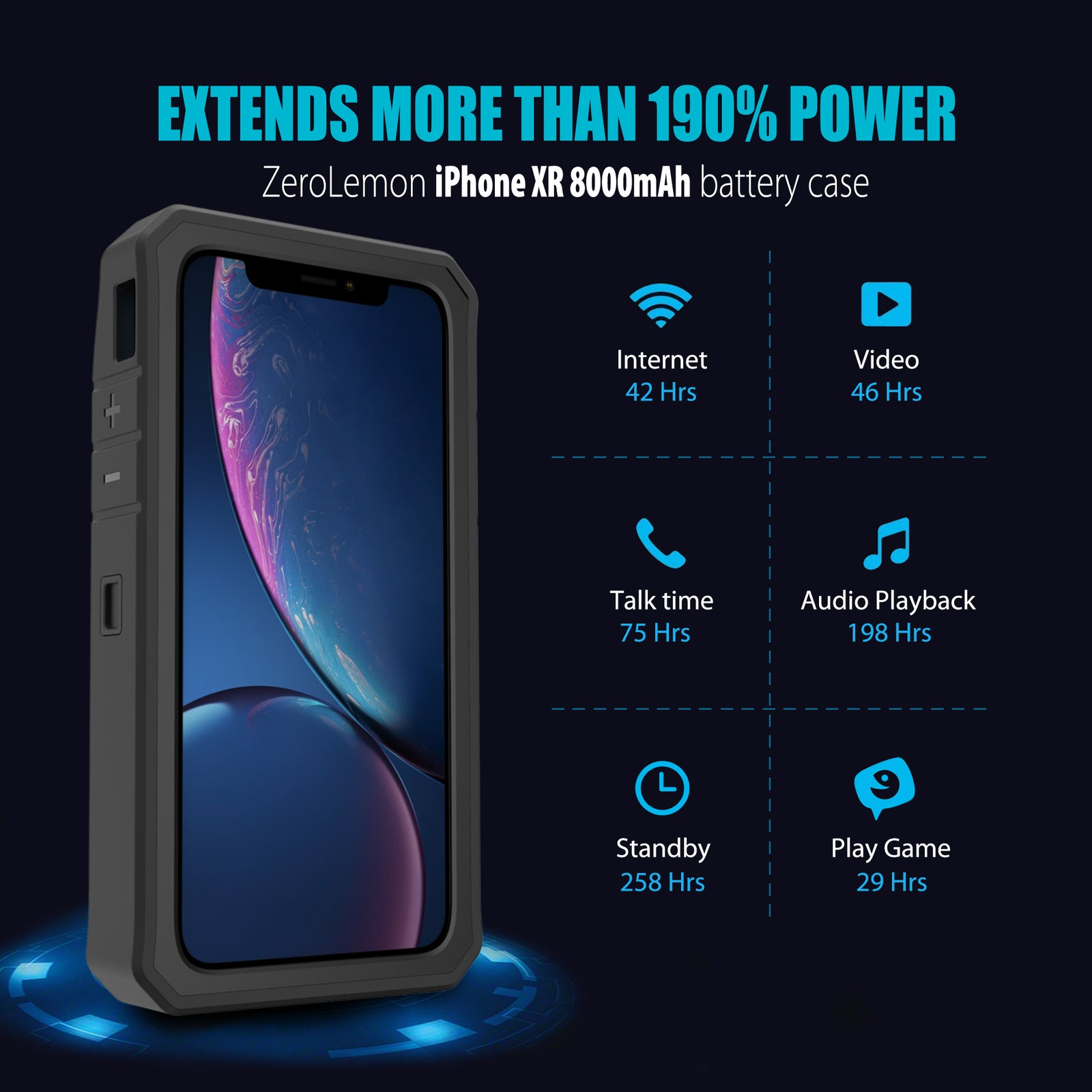 iPhone XR 6.1'' Battery Case 8000mAh - Black