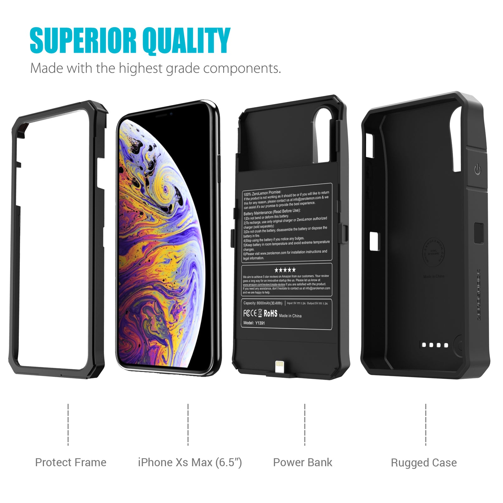 iPhone XS Max 6.5'' Battery Case 8000mAh - Black