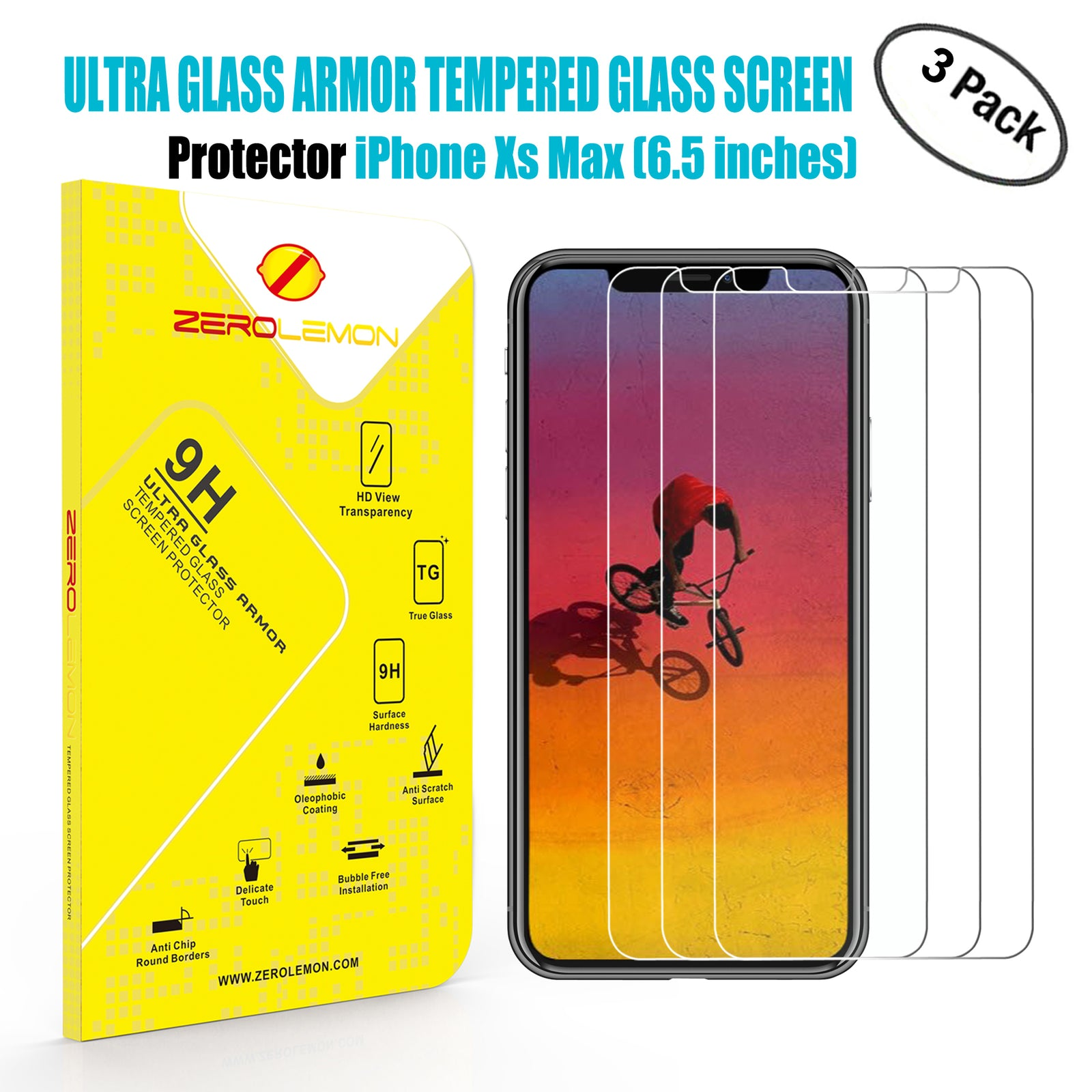 iPhone Xs Max Screen Protector - 3 Pack