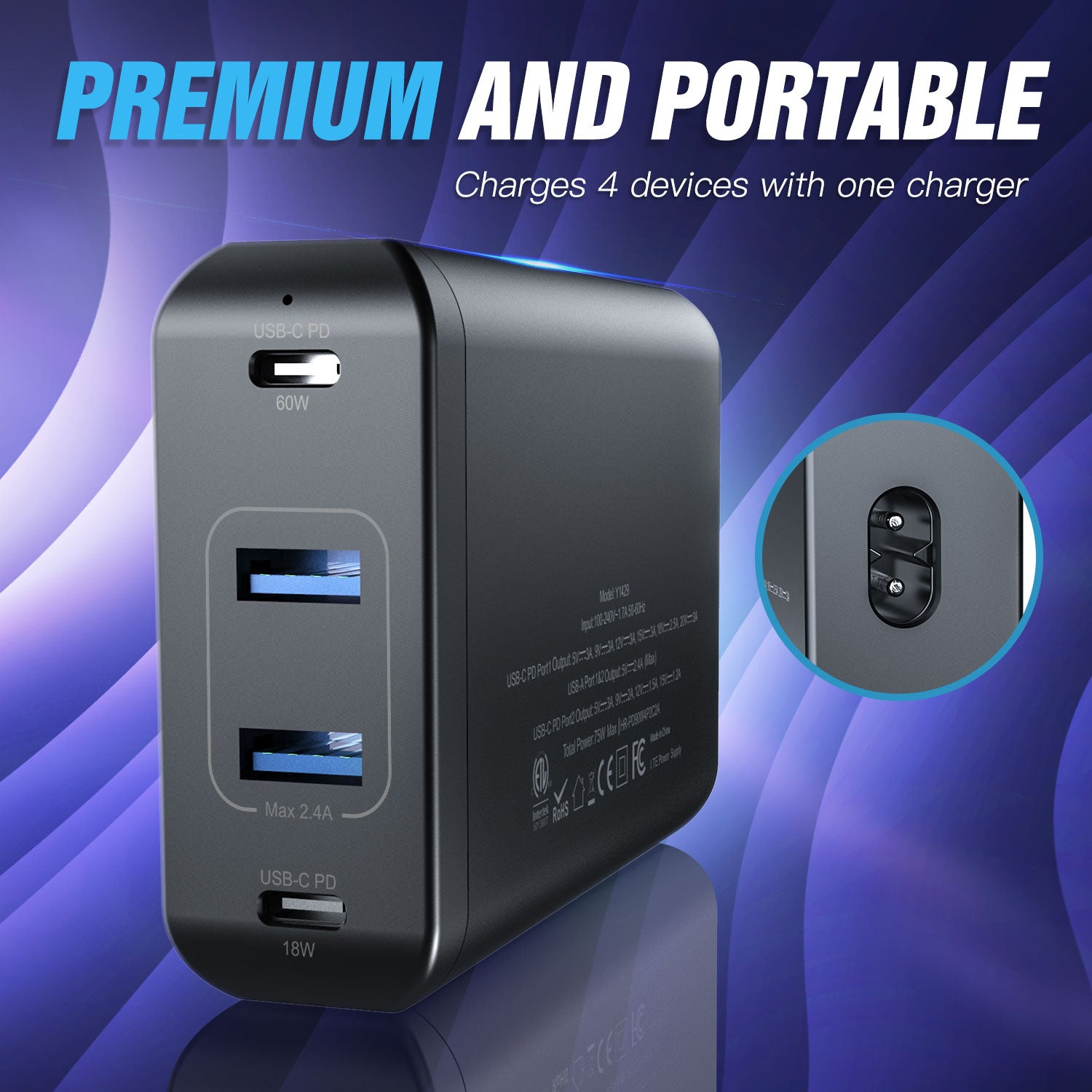 75W 4-Port Dual USB-C PD Desktop Charger
