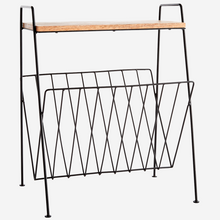 Load image into Gallery viewer, Wood Side Table with Black Magazine Rack