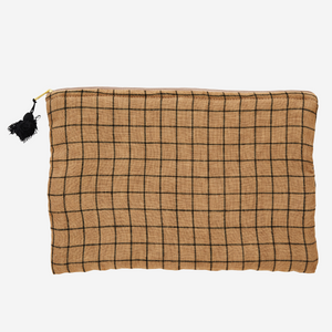 Checked ipad cover w/ tassel