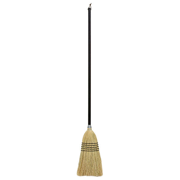 bamboo sorghum long handled handle broom in natural straw woven with black & a black handle & hanging loop for cleaning, dusting & sweeping