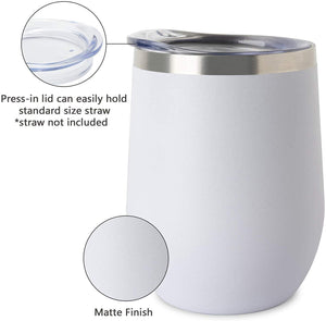 White Stainless Steel Thermal Reusable 12oz Coffee Keep Cup