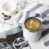 white stainless steel thermal reusable 12oz coffee cup