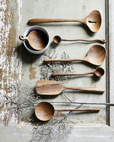 round teak scoop spoon