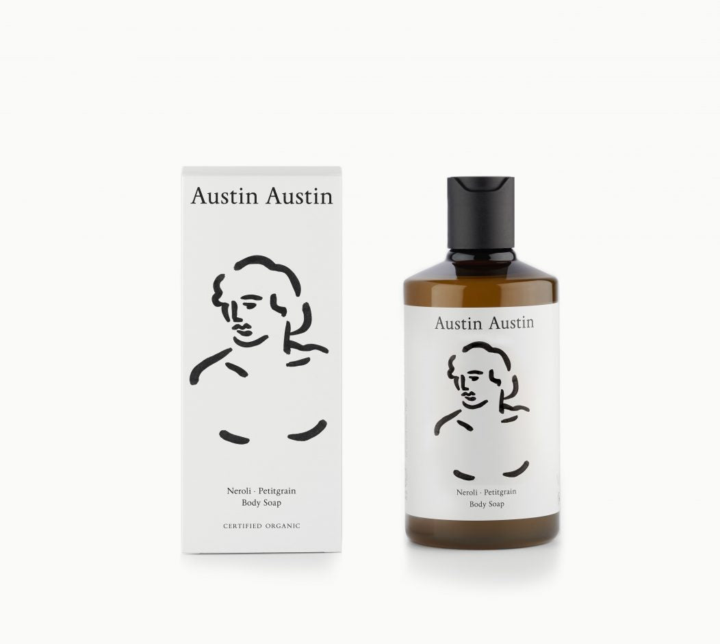 Austin Austin Artist designed packaging organic Beautiful botanical body soap, made with betaine to soothe, moisturise & protect. Top notes of orange & grapefruit. Middle notes of neroli & cardamom. Base notes of petitgrain & cedar wood.
