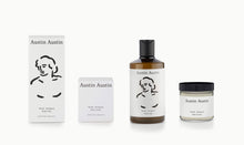 Load image into Gallery viewer, artist designed packaging head illustration Austin Austin certified organic body care duo, made with betaine to soothe, moisturise & protect. Top notes of orange & grapefruit. Middle notes of neroli & cardamom. Base notes of petitgrain & cedar wood.