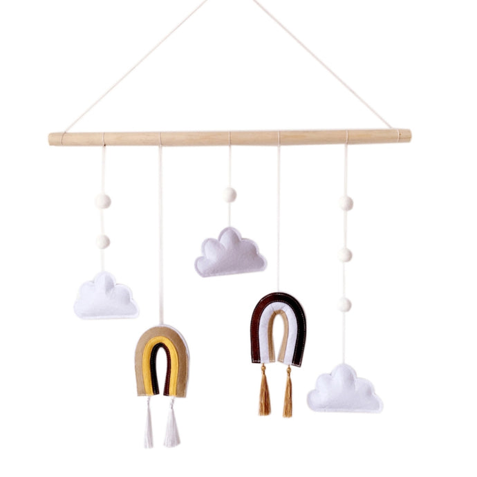 wood  silver lining  rainbow  pram  newborn  mobile  hanging  gifting  gift  cot  brown  baby clouds kids childrens tassels stimulating play colours movement