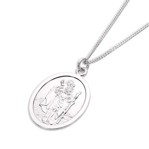 Oval Sterling Silver St Christopher on Rope Chain