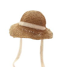 Load image into Gallery viewer, Wide brim soft handwoven papyrus straw hat with cotton lace ribbon & adjustable cotton trim inside for comfort & fit. foldable folds childrens kids