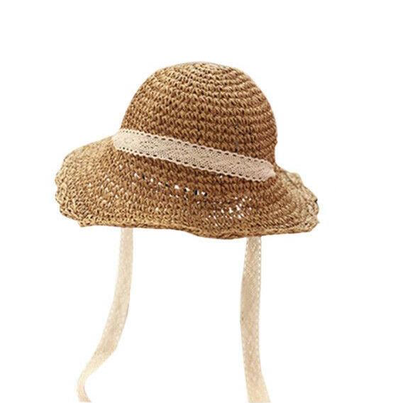 Wide brim soft handwoven papyrus straw hat with cotton lace ribbon & adjustable cotton trim inside for comfort & fit. foldable folds childrens kids