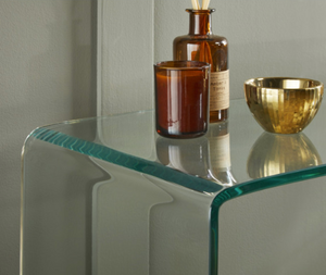 Curved Tempered Glass Console Table