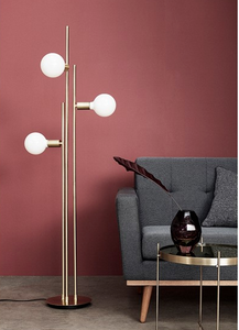 Brass Floor Lamp With Large Glass Bulbs