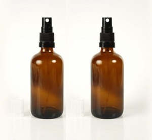 Pair duo set amber glass bottles spray tops 100ml travel bottle apothecary