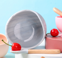 Load image into Gallery viewer, Marble / Peach Silicone Suction Bowl & Spoon